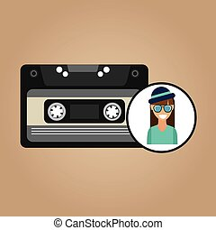 music cassette girl hipster vintage background desgin vector...