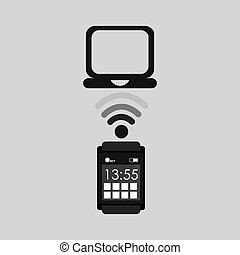 smart watch connection laptop vector illustration eps 10
