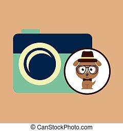 hipster dog symbol camera design vintage background vector...