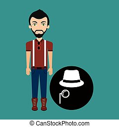 young hipster man fedora hat and mustache vector...