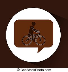 man ridding bike vintage icon vector illustration eps 10