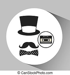 music cassette hat mustache bow tie vintage background desgin