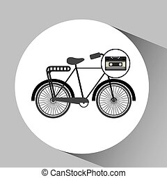 music cassette bicycle vintage background desgin vector...