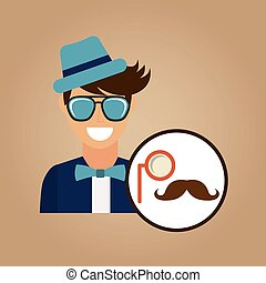 hipster character monocle and mustache vintage icon vector...