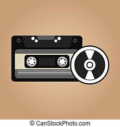 Vinyl disk retro cassette - cassette vynil disk retro vector...