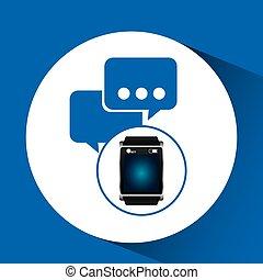 smart watch blue screen bubble speech icon media vector...
