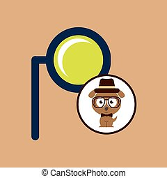doggy hipster concept, monocle style vintage vector...