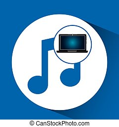laptop blue display music social media vector illustration...