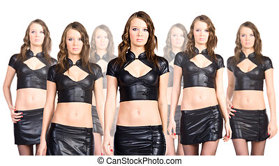 Clone team. Seven sexy clone women isolated on white.