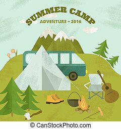 Summer camp template. - Vector camping template, layout and...
