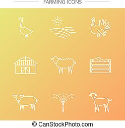 Farm icons set. - Vector agriculture, farming line icons....