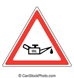 sign oil change, a red triangle with oil and a drop of oil,...