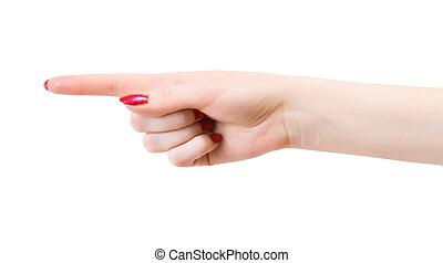 Woman pointing hand. Isolated on white.