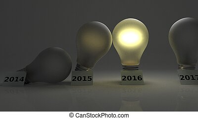 Years passing as lightbulbs - Lightbulbs falling on each...