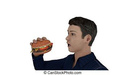 Man looking at burger 3d Illustration
