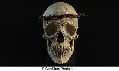 Skull with crown of thorns 3d illustration - Skull with...