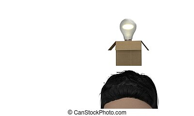 Bulb idea out of the box 3d illustration