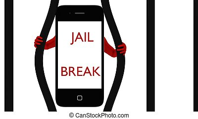Jailbreaking a smart phone 3d render - Smart phone breaking...