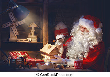 Santa Clause is preparing gifts - Merry Christmas and Happy...