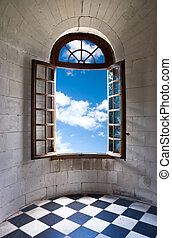 Old wide open window in castle.