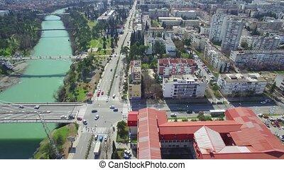 aerial view of Millennium bridge over Moraca river,...