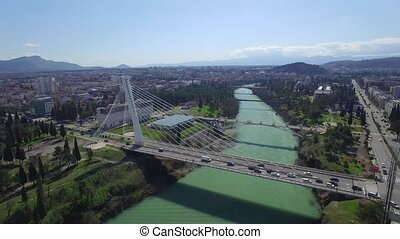 aerial view of Millennium bridge over Moraca river,...