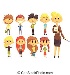 Elementary School Group Of Schoolchildren With Their Female Teacher In Suit Set Of Cartoon Characters