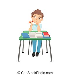 Schoolboy Sitting Behind The Desk In School Thinking About Something Chewing The Pencil Illustration, Part Of Scholars Studying Vector Collection.