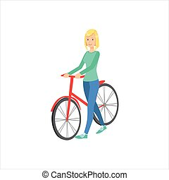 Happy Girl With Short Blond Hair Walking With Her Bycicle,...