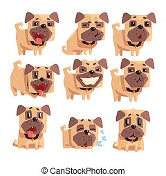 Little Pet Pug Dog Puppy With Collar Set Of Emoji Facial...