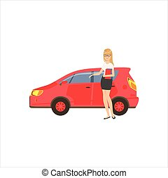 Happy Self-made Business Lady With Her Red Car In Office Dress Code Outfit Clothing, Part Of Women Different Lifestyles Collection