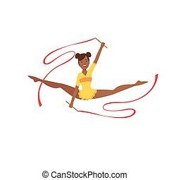 Black Professional Rhythmic Gymnastics Sportswoman In Yellow...