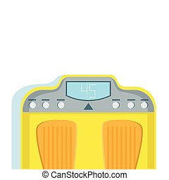 Yellow Bathroom Scales For Weight Loss Monitoring Vector Illustration From The Fitness Essentials Collection