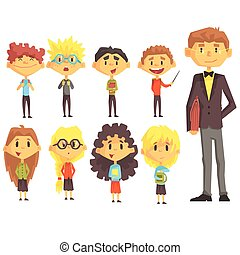 Elementary School Group Of Schoolchildren With Their Male Teacher In Suit Set Of Cartoon Characters