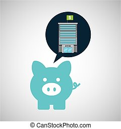 bank building finance piggy icon graphic