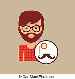 hipster concept mustache and monocle man vector illustration...