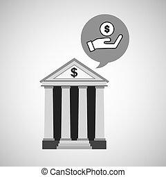 bank concept safe hand money icon