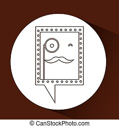 symbol hipster monocle and mustache icon