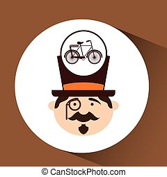 character male hipster bicycle vintage vector illustration...