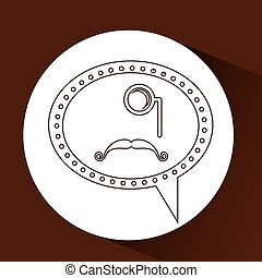 symbol hipster monocle and long mustache vector illustration...