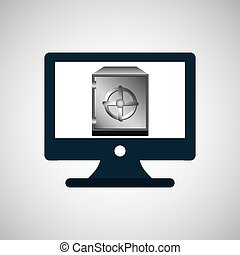 business financial safe box online icon