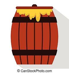 Honey keg icon, flat style
