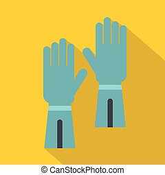 Rubber gloves for hand protection icon, flat style - Rubber...