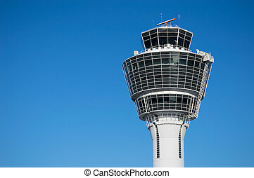 Modern air traffic control tower in international passenger...