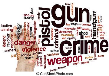 Gun crime word cloud concept