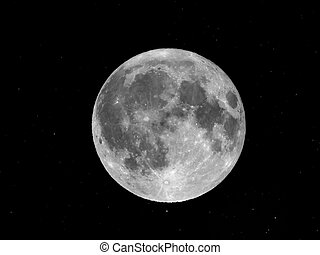Moon and stars - Full moon with stars - seen through a...