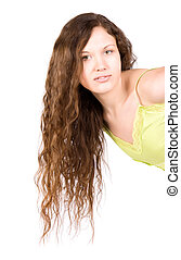 Young woman with long brunette hair
