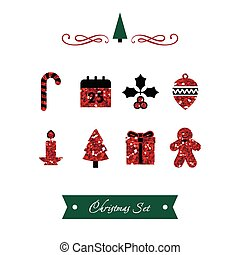 Vector Set of Red Shiny Christmas Icons
