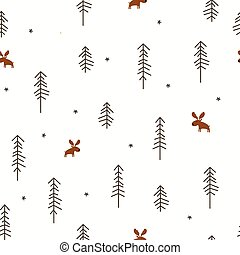 Winter Forest with a Moose - Vector illustration of a Winter...