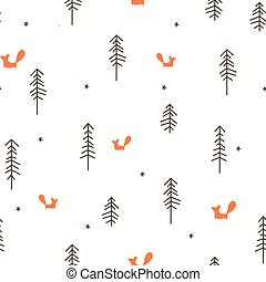 Winter Forest Seamless Pattern - Vector illustration of a...